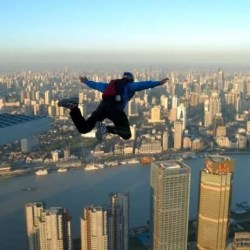 base jumping in a city
