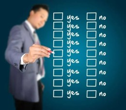 Checklist with yes no options