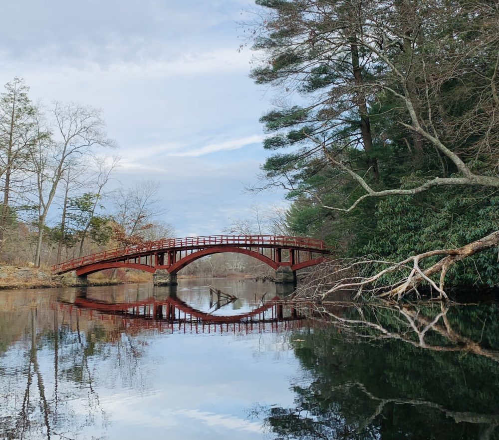 south natick red wooden bridge