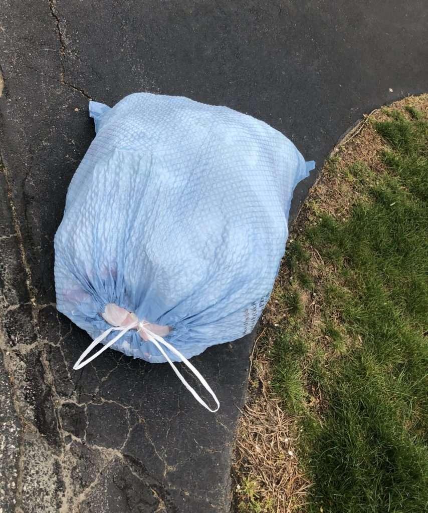 blue trash bag