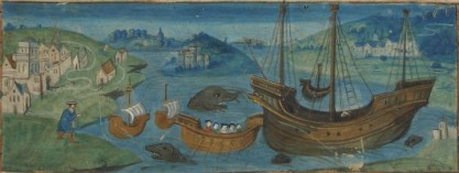 Detail showing a painting of ships in a harbour from the illuminated border of the Treaty of Amiens between England and France, 18 August 1527. Catalogue reference E 30/1113. The full image is available through our Image Library.