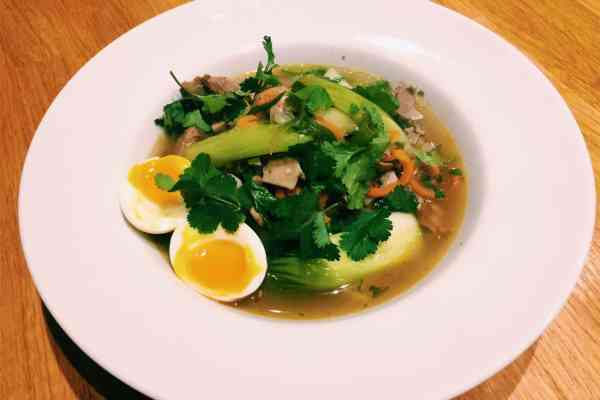 National dish of Japan Ramen with courgette zoodles paleo and low carb