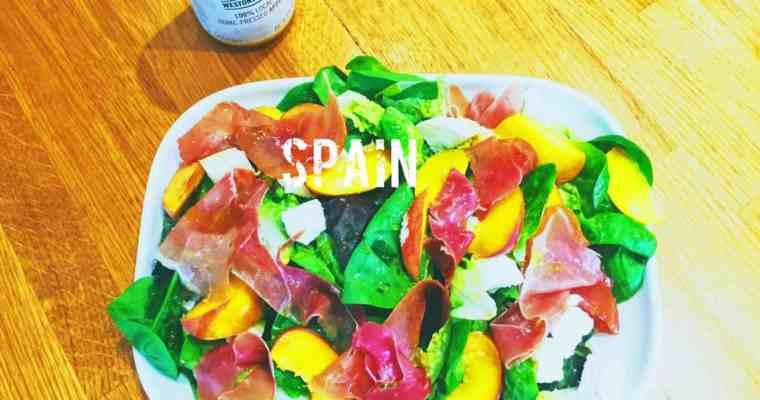 Serrano Ham, Goats Cheese and Peach Salad | ensalada de Serrano, queso de cabra y melocotón | What is the national dish of Spain?