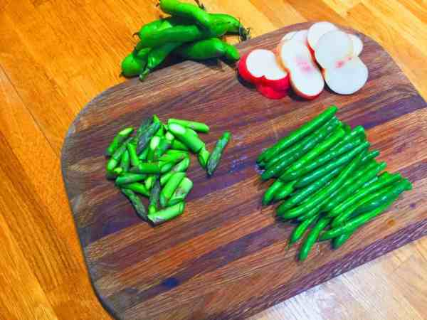 blanch your beans and asparagus for this warm green indian salad