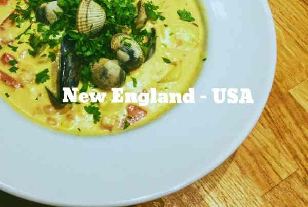 National dish of New England USA mixed fish and clam chowder