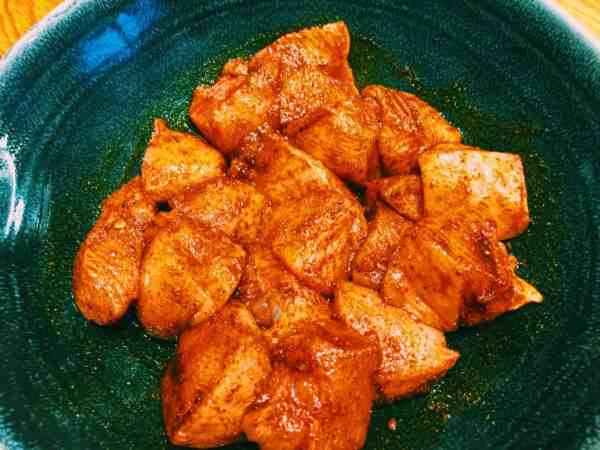 Let the chicken marinate for as long as possible Chunky onion and mushroom for Sweet and Sour Chicken and Mango from National Dish