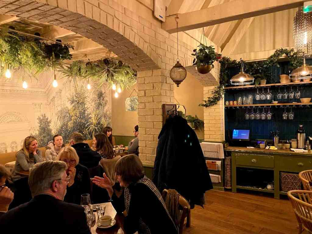 The Garden Room at Raymond Blanc's The Kings Head, Cheltenham, decorated like one - I don't think it leads to the garden.