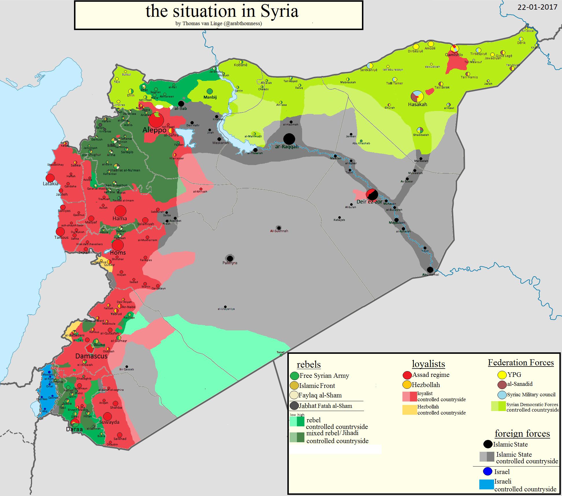 syrian civil war map, 2017