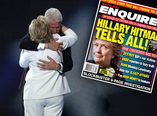 Image result for Hillary clinton nation enquirer October 19, 2016 Hillary Hitman tells all