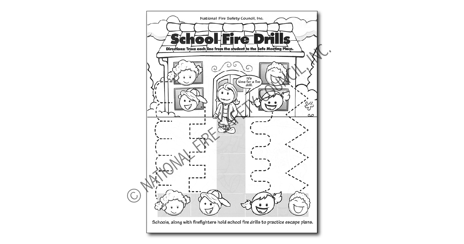 219f School Fire Drill Color Activity Sheet