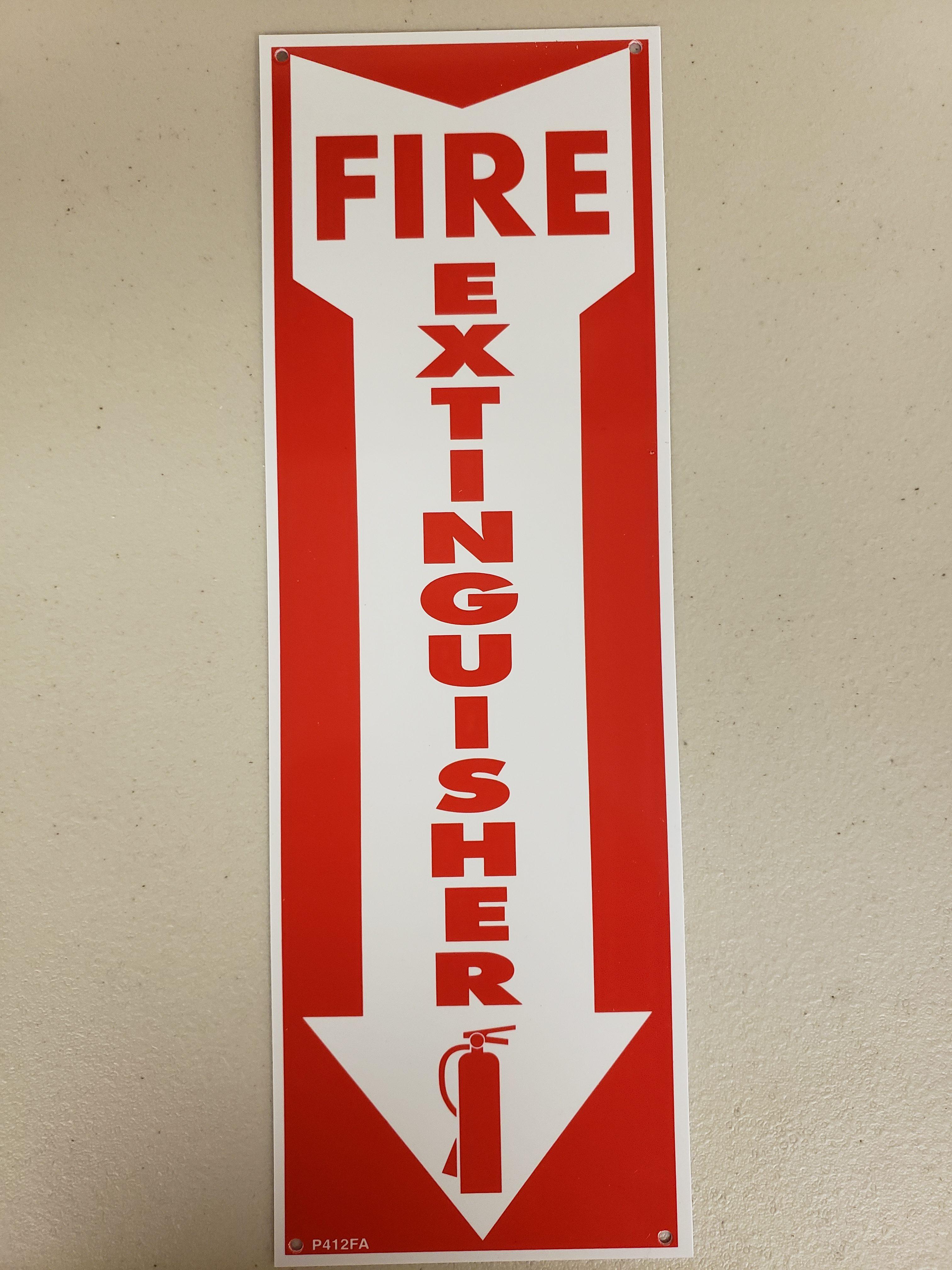 Rp108 Nfs Rp108 Rigid Plastic Fire Extinguisher Arrow Sign 4 X 12