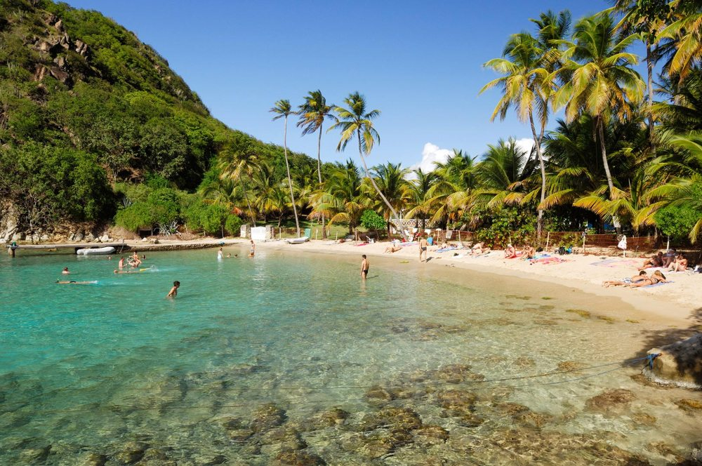 Picture of people relaxing at Sugarloaf Cove, les Saintes, Guadeloupe Islands