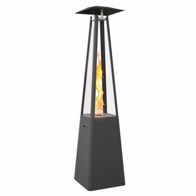 kratki umbrella real flame pyramid patio heater black with brackets