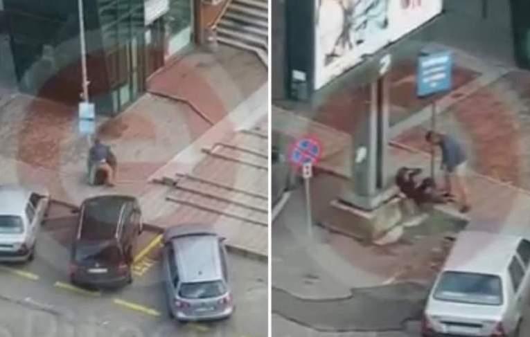 Femeie bătută, târâtă pe stradă și aruncată într-un coș de gunoi. Scene șocante filmate pe străzile din Pitești (VIDEO)