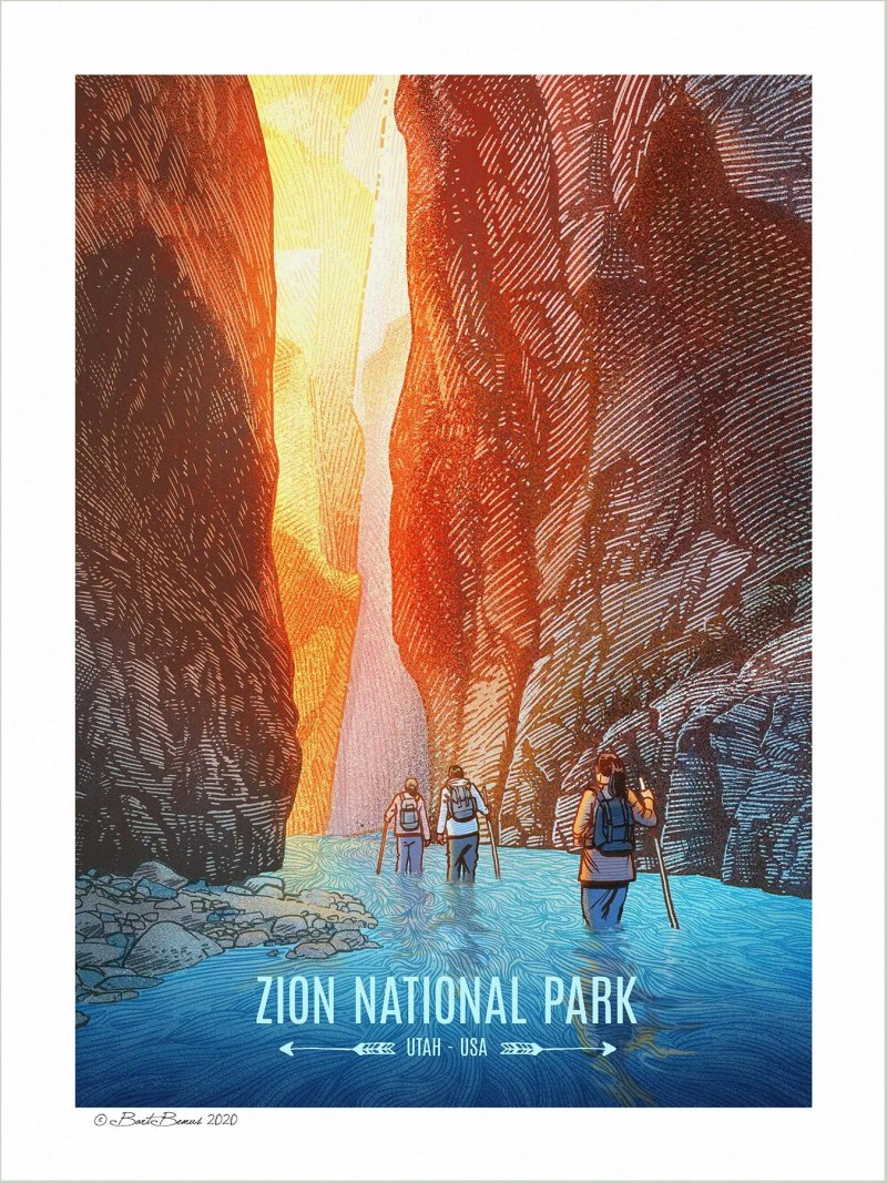 """Hikers wading into Zion National Park's """"The Narrows"""" gorge"""
