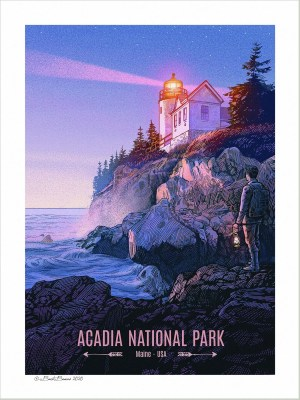 An art print of Acadia National Park showing a man lantern standing close to the Bass Harbor Head Light.