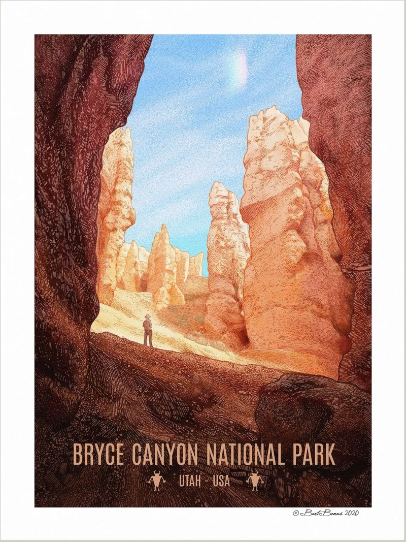 An art print of Bryce Canyon National Park showing done in a vintage style.