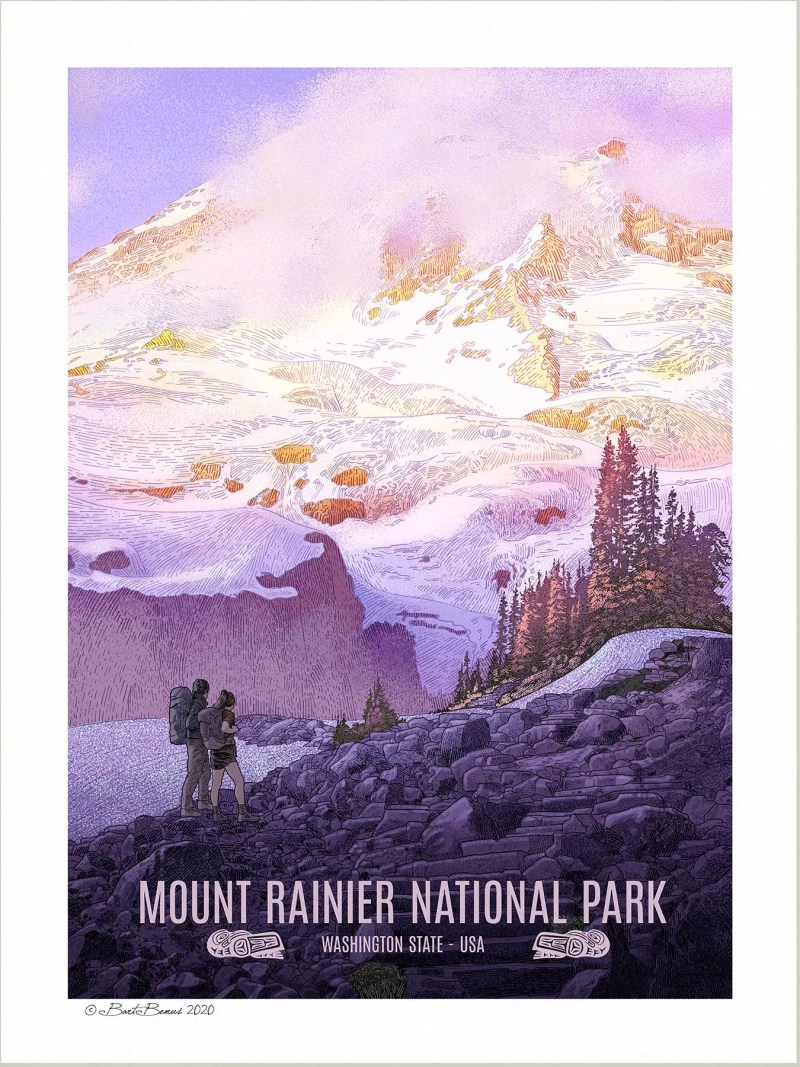 A Vintage Style WPA Poster of Mount Rainier National Park.