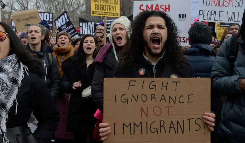 Protesters march against Trump administration immigration policies in New York City, February 2017. (Reuters photo: Stephanie Keith)
