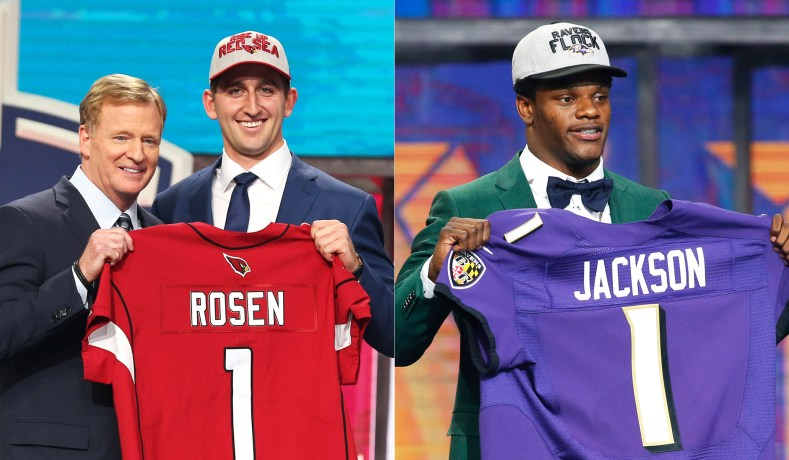 Josh Rosen (with NFL commissioner Roger Goodell) and Lamar Jackson at the  2018 NFL Draft at AT T Stadium in Arlington 23d3f0683