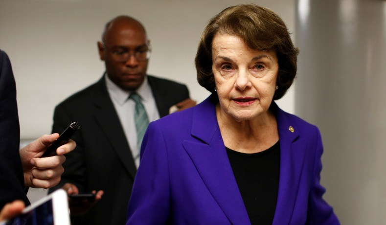 Dianne Feinstein Talks With Reporters On Capitol Hill In May