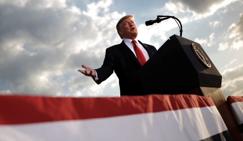 16d484bc94 President Trump addresses a re-election campaign rally in Montoursville,  Pa. May 20, 2019. (Carlos Barria/Reuters)