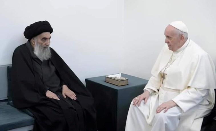 Pope Francis meets with Iraq's top Shi'ite cleric, Grand Ayatollah Ali al-Sistani, in Najaf, Iraq March 2021.