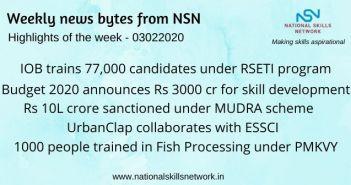 News Bytes on Skill Development and Vocational Training – 03022020