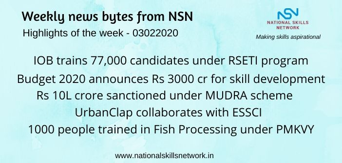News Bytes on Skill Development and Vocational Training – 03022020