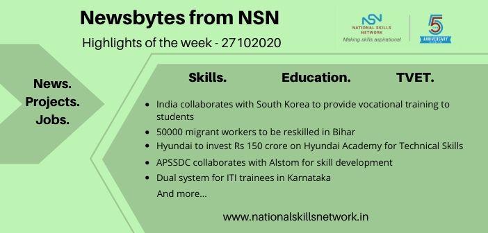 Newsbytes on Skill Development and Vocational Training – 27102020