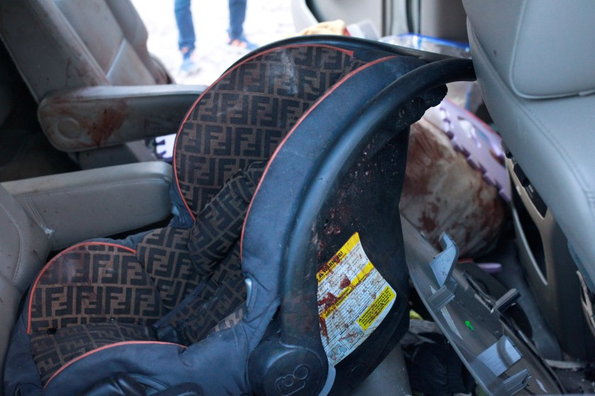 A baby's car seats was also spattered with blood