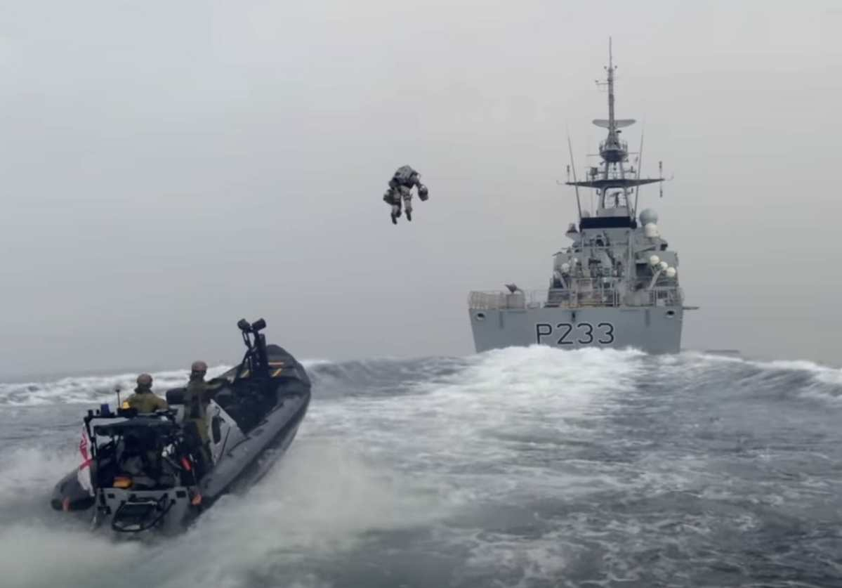 Royal Marines board vessel with jet suit