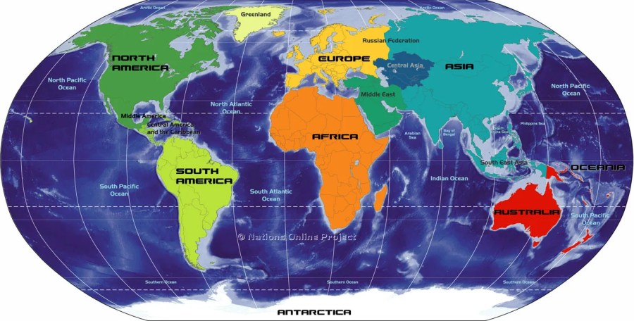 Small Map of Continents of the World Map of the Continents of the World  Africa  Antarctica  Asia  Australia