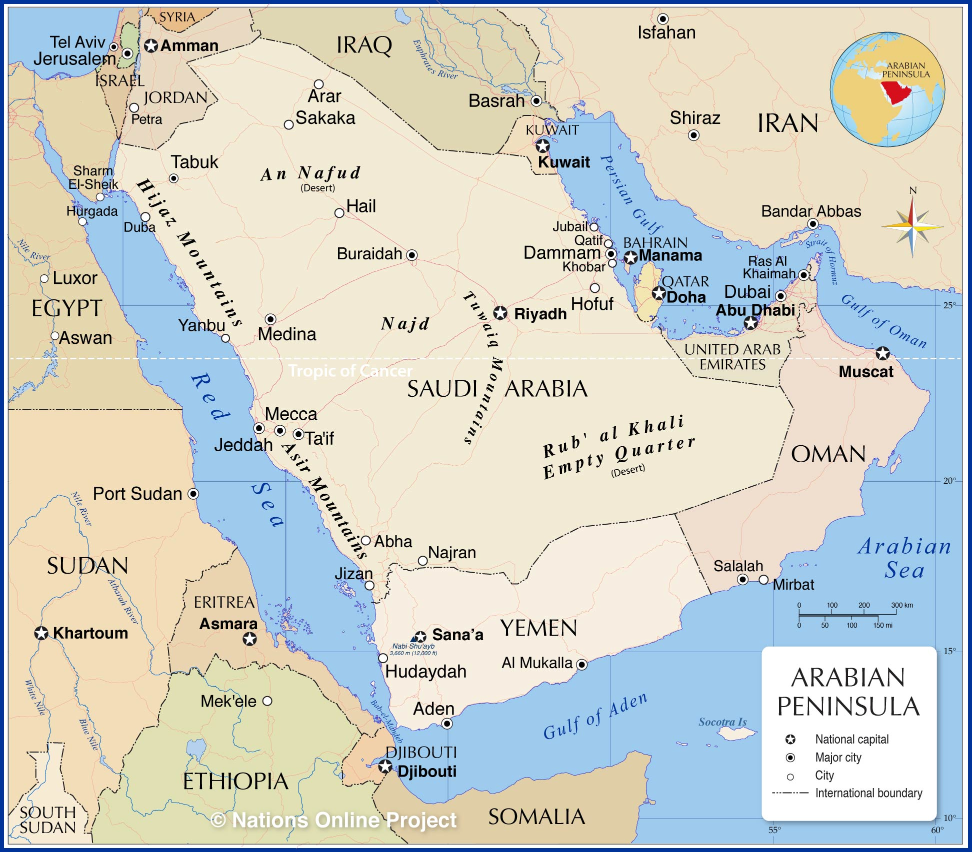 Political Map Of The Arabian Peninsula