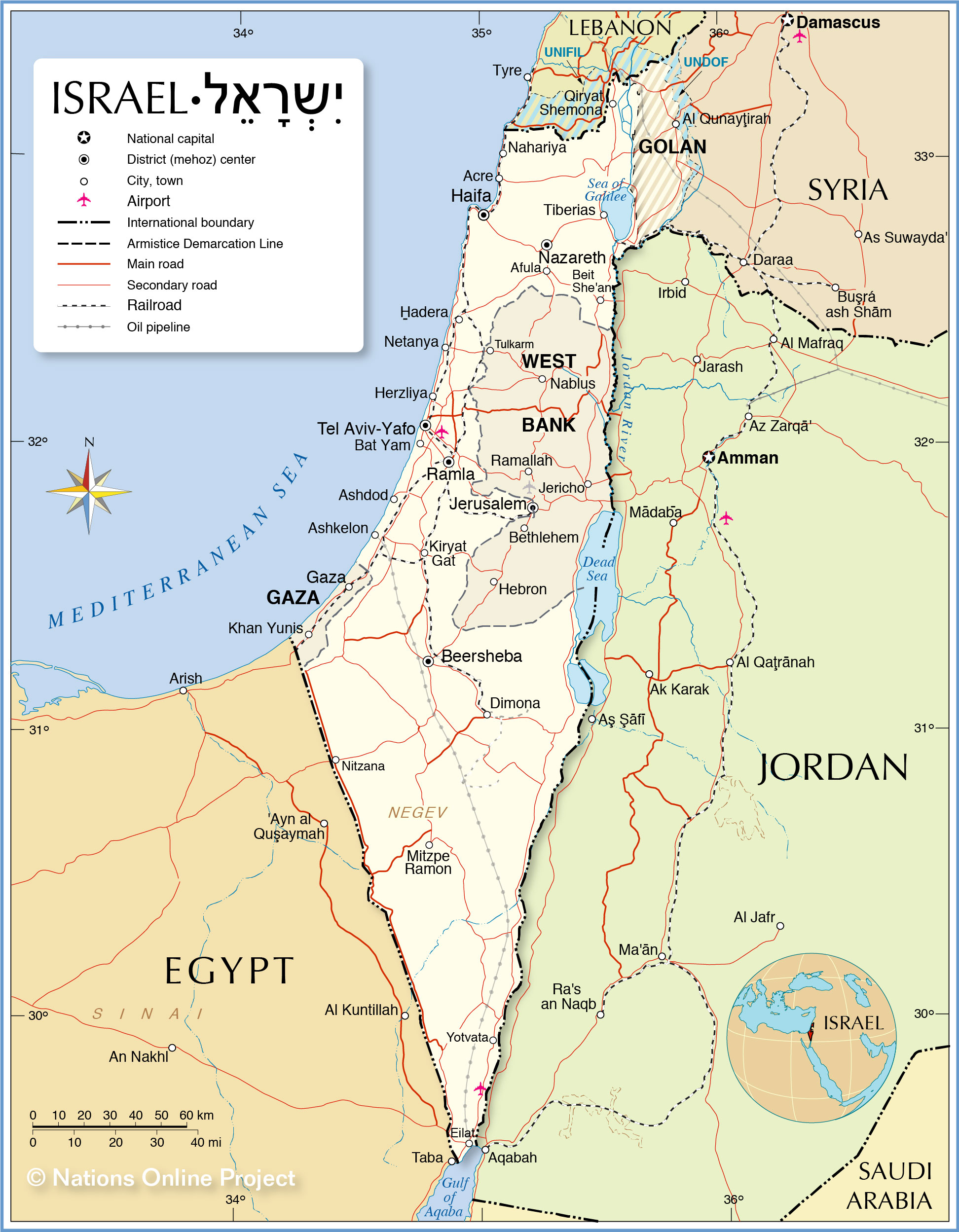 Political Map Of Israel