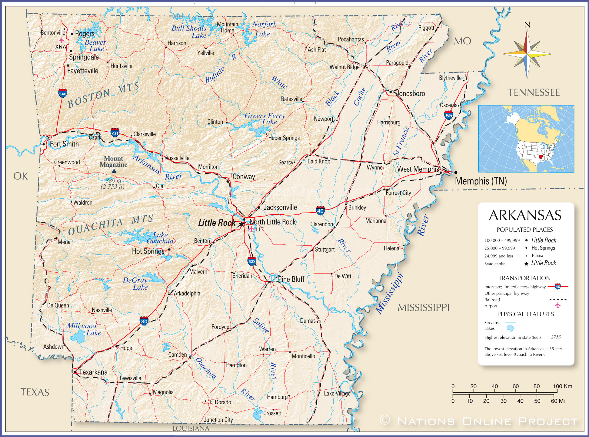 Map Of The State Of Arkansas Usa