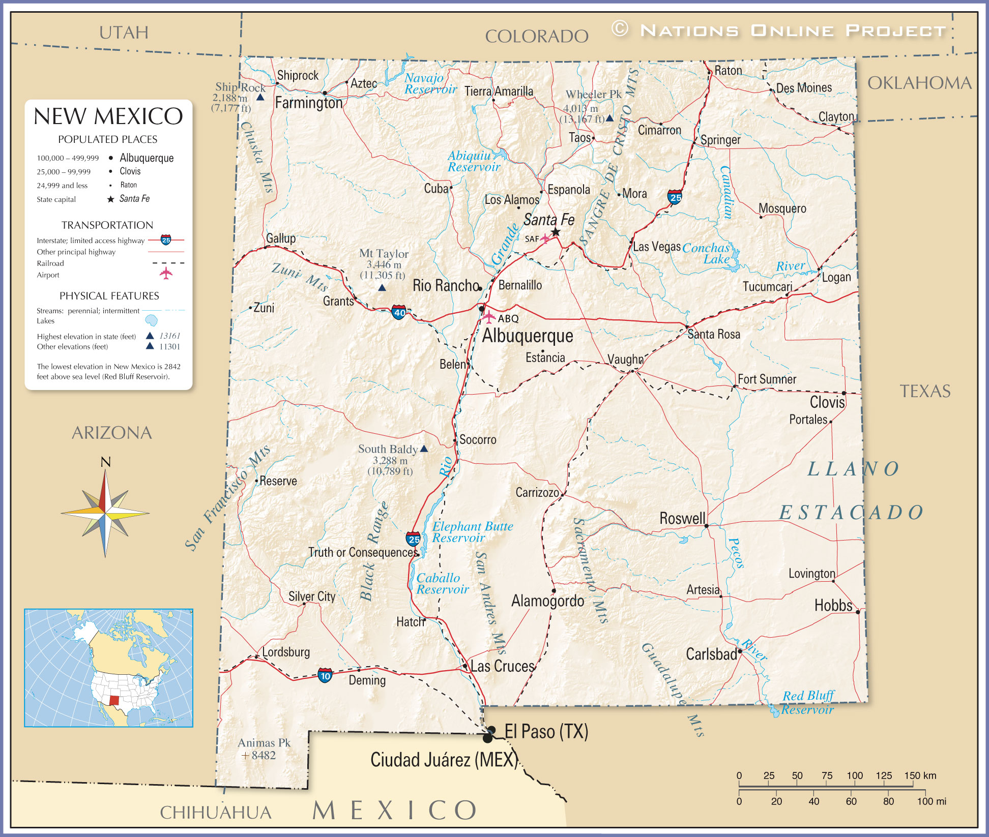 Map Of The State Of New Mexico Usa