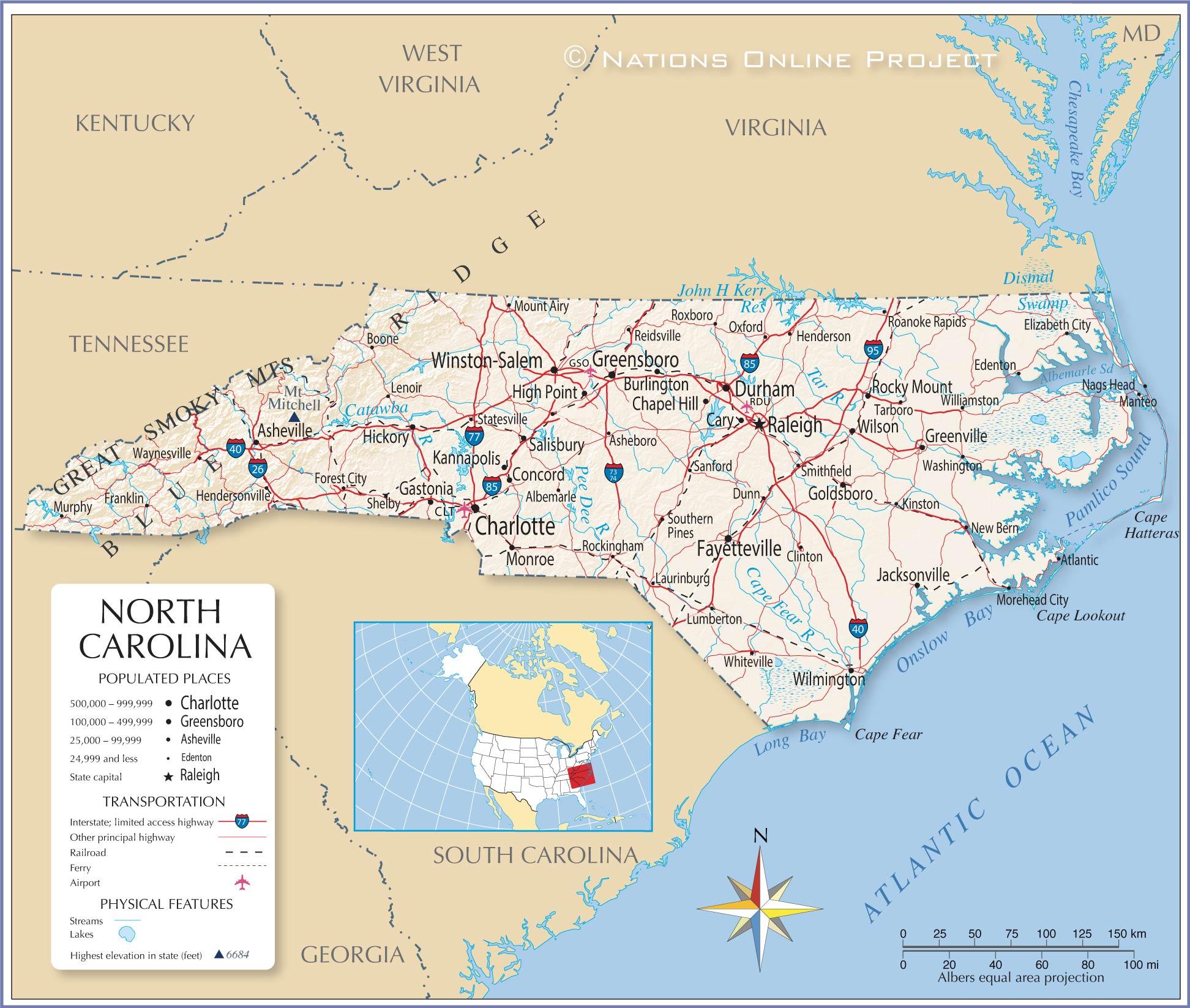 Map Of The State Of North Carolina Usa