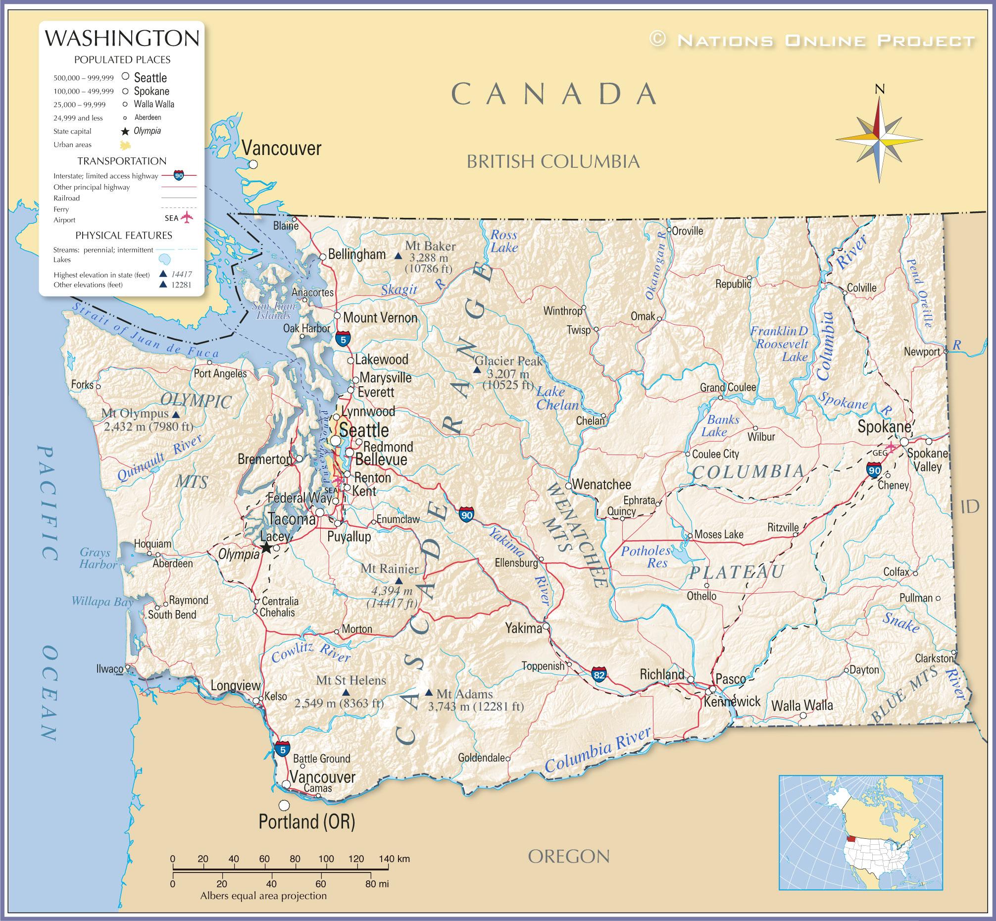 Map Of Washington State Usa