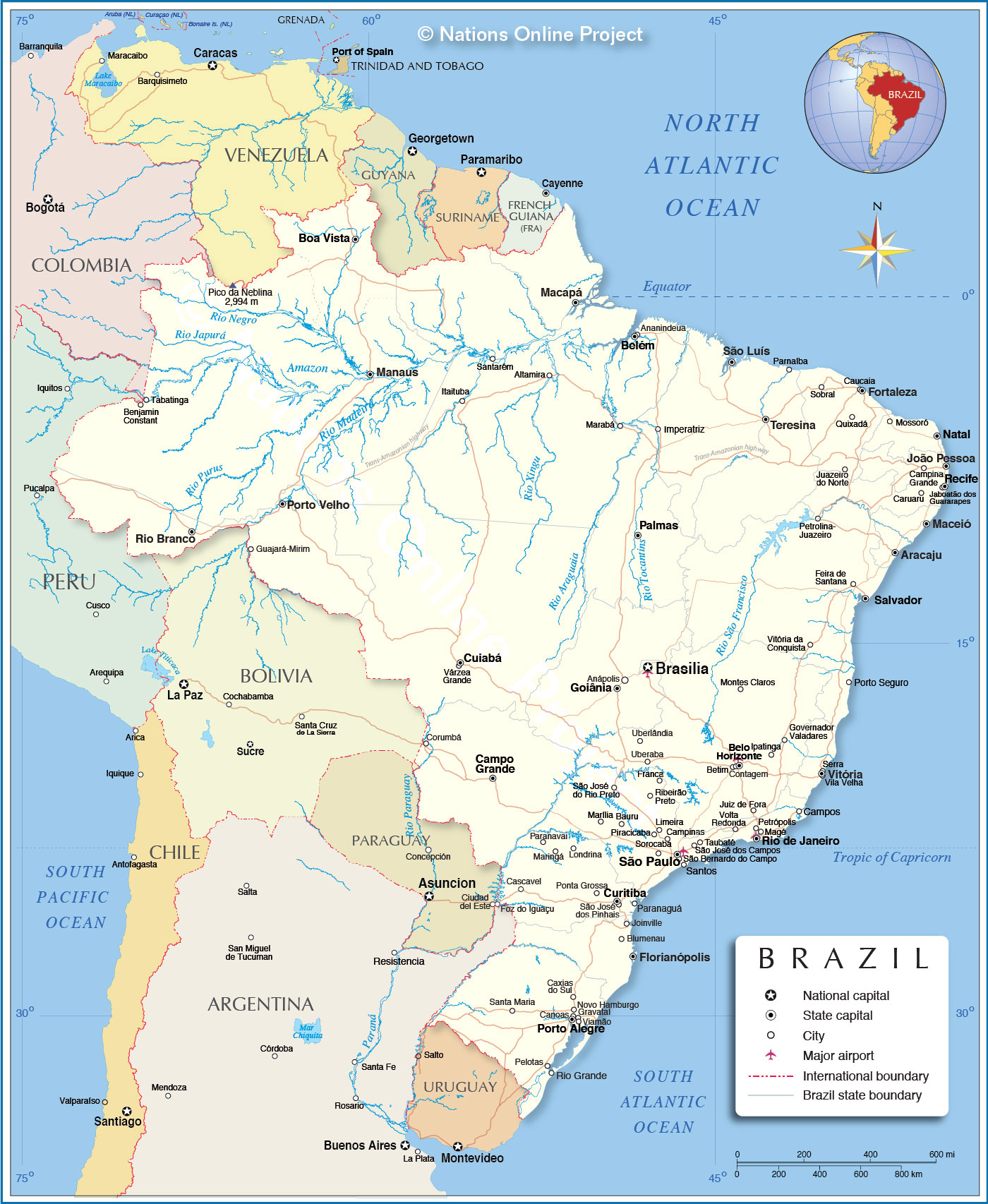 Detailed Map Of Brazil Nations Online Project