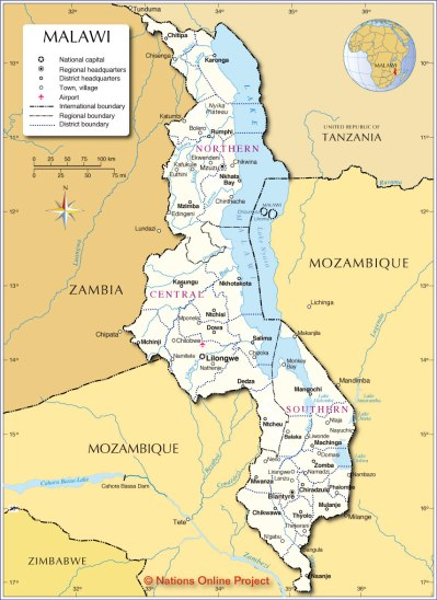 Administrative Map of Malawi - Nations Online Project