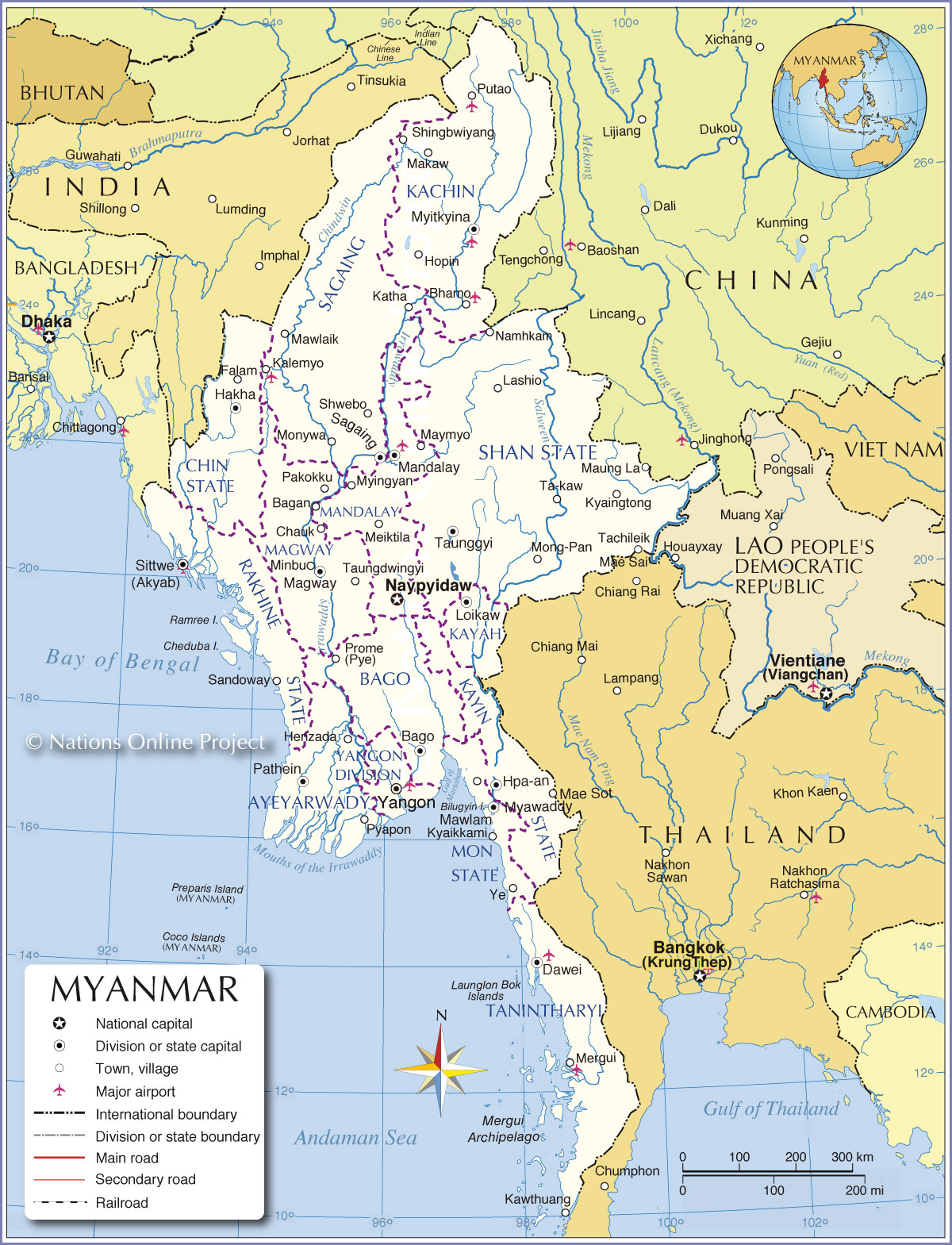 ___ Administrative Map Of The Union Of Myanmar Burma