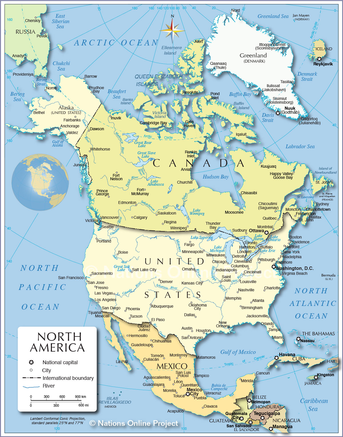 Political Map Of North America 1200 Px Nations Online Project