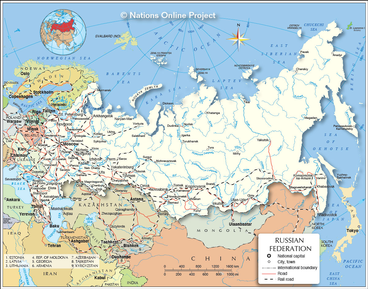 Political Map Of The Russian Federation