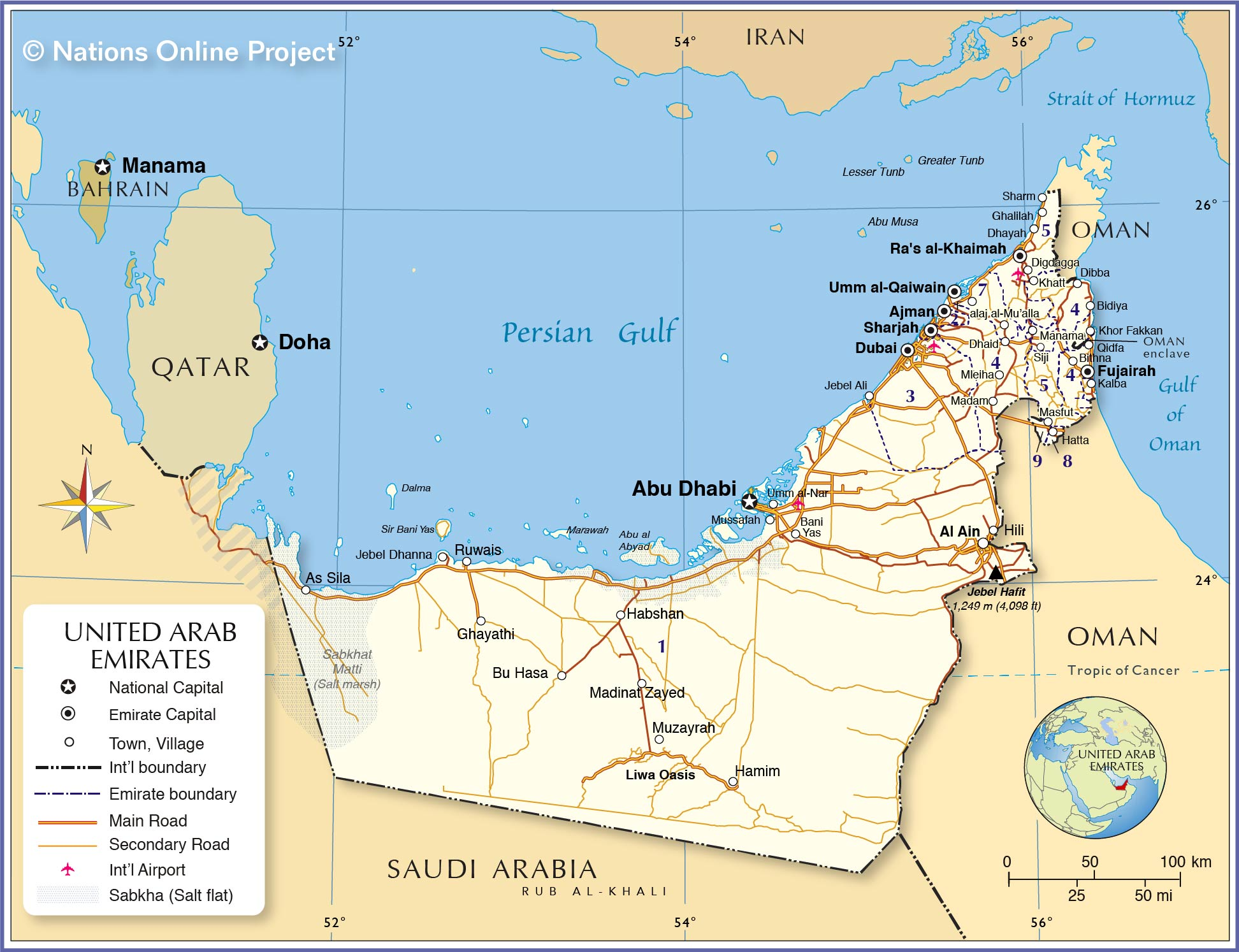 Political Map Of United Arab Emirates
