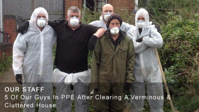 Our House Clearance Staff After a Cluttered & Verminous House Clearance