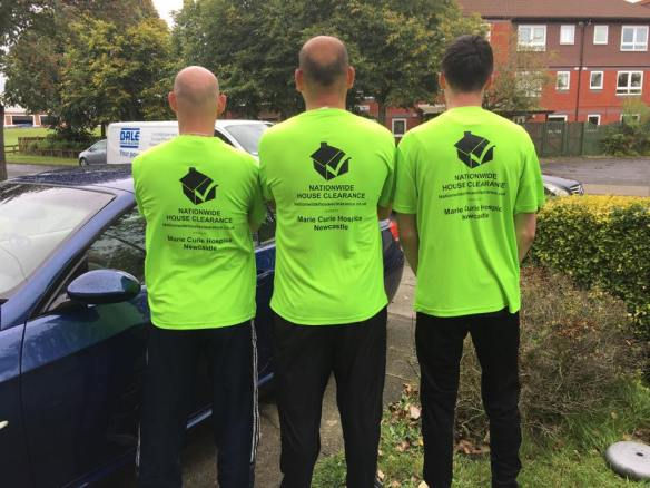 Members of the Nationwide House clearance Team In Their Great North Run T-Shirts For Marie Curie