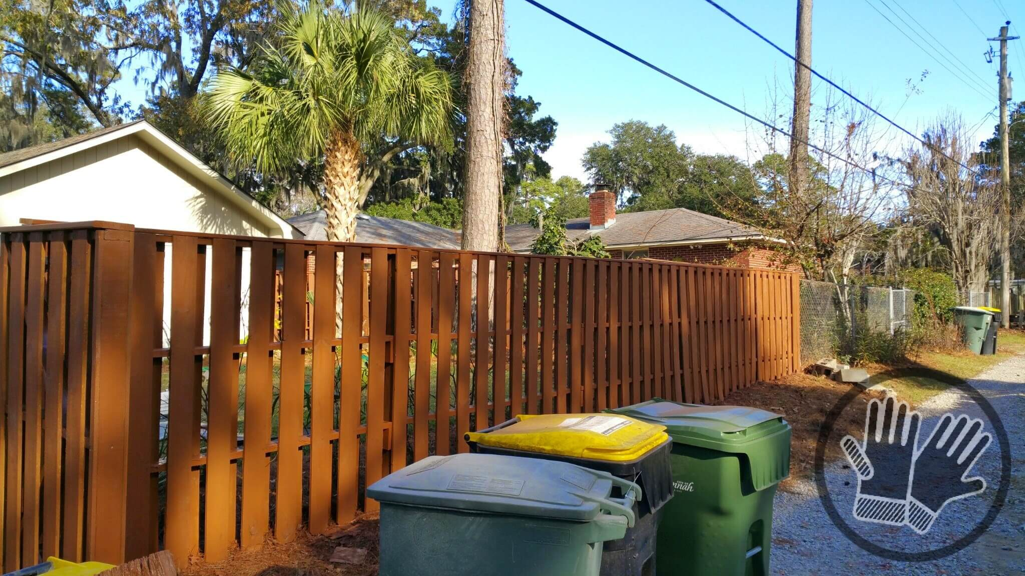 Fence Stained With Behr Sable St 135 Semi Transparent