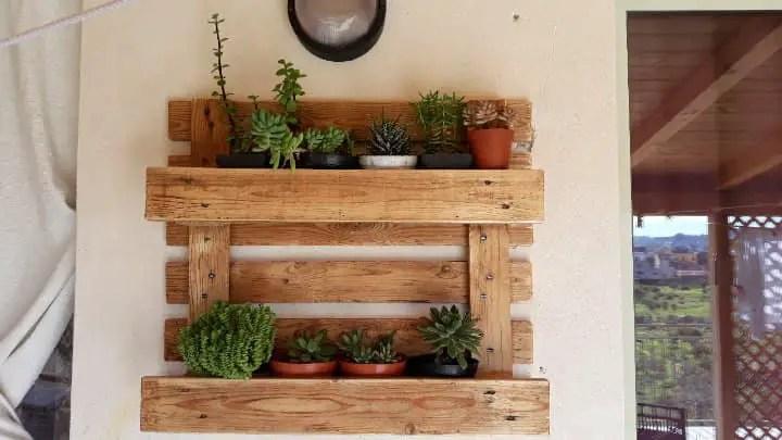 Riciclo creativo delle pedane in legno con piante grasse.