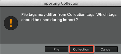 finestra importing collection o file tags